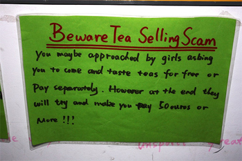 Beware of the tea selling scam! photo flipnomad.com