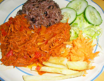 Ropa Vieja, shredded beef with vegetables literally means 'old clothes.'