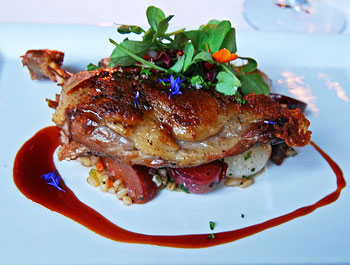 Crescent Farms Duck at Gracie's - pearl barley, fava beans, smoked plum, cipollini onions and tarragon duck au jus. Note the blue and orange petals - they are edible flowers from Gracie's rooftop garden.