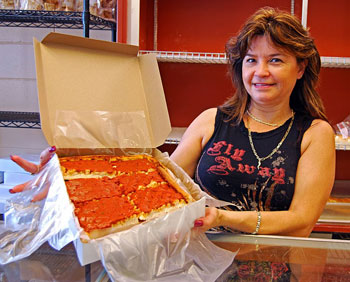 Maria from Crugnale Bakery. They have five locations in and near Providence. The pizza strips made for a great snack on our way home.