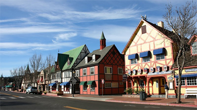 Solvang, picturesque town on the Santa Barbara wine area.