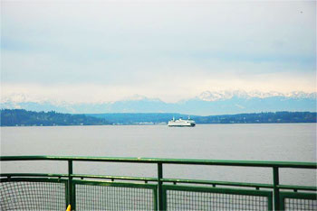 View of the Cascades from the Washington State Ferry.