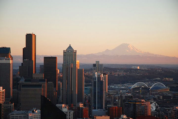 Seattle skyline and Mt. Rainier, seen from the Space Needle