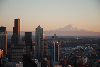 Seattle skyline, from the Space Needle. photos by Shelley Rotner.