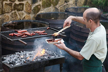 Grilling chorizo basque style. photo by Paul Shoul.