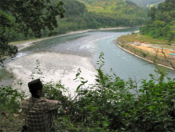The Runjeet River and a suspension bridge that connects the Darjeeling region of West Bengal to Sikkim.