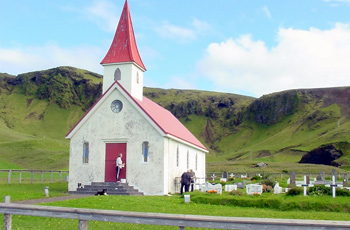 Closed for business. A quaint church on Route 1 between Selfoss and Skogar