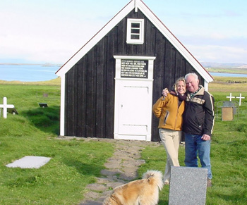 Laurieanne with Hildibrandur in front of the farmer's church on his property in Bjarnarhofn.