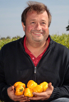 Eric Stekovics and some of his beloved vegetables.