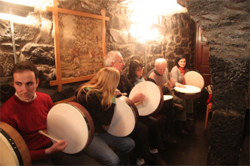 Drumming in the spirit of Eric Clapton, one-timeowner of Barberstown Castle.