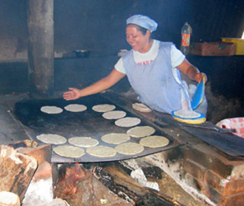 Cooking Tortillas on a wood stove in Nicaragua