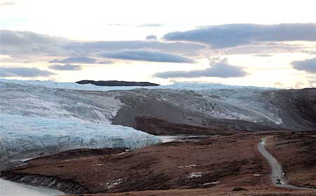 The Russell Glacier, on the inland ice cap that covers 85% of Greenland.