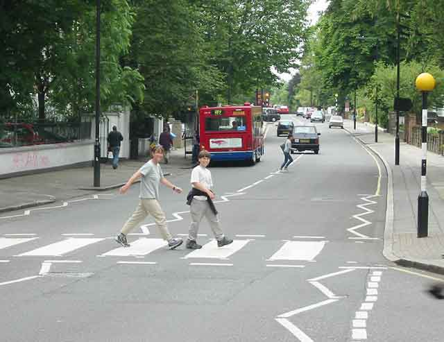Walking across Abbey Road: The author and her son, Josh.