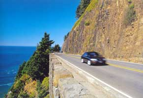 Cliffside section of Highway 101 in northern Oregon. Photo by Neil Sutherland.