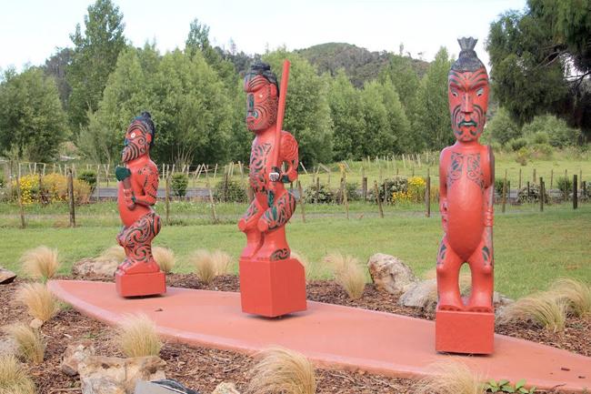 Maori totems in Coromandel Town.