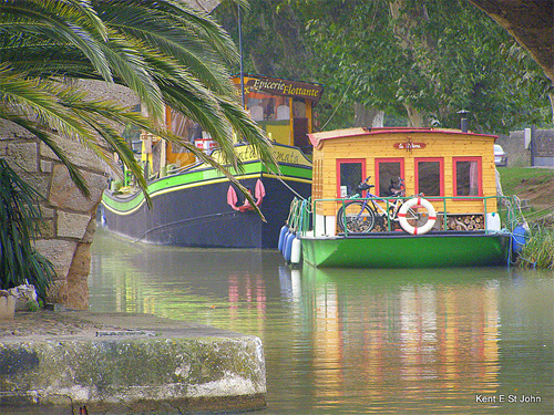 A lazy summer afternoon on the Canal du Midi, France. photo by Kent St. John.