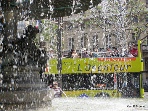 Paris open bus tour.
