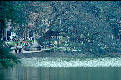 A tranquil arm of Lake Hoan Kiem.