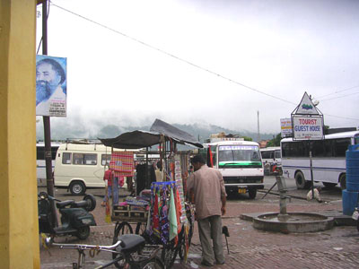 A rainy bus station in Rishikesh