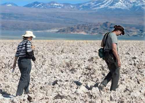 Walking the Atacama Salt Lake.
