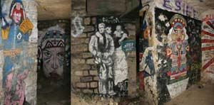 The underground tunnels in Paris also host many paintings and sculptures by anonymous artists.