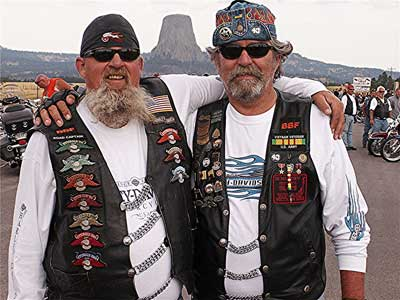Motorcyclists at Devil's Tower in South Dakota