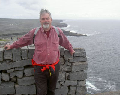 The author communing with the stones at Dun Aenghus