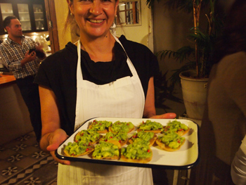 Chef Monica Patino serves fresh quacamole.