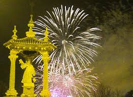 A view of The Castillio fireworks from the St Vincent Bridge in Valencia, Spain