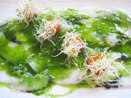 Squid carpacchio topped with pesto and squid ink from La Matandeta in Valencia