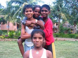 Boys in the community village - Photos by Mark Helyar