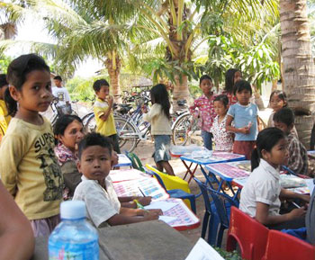Children getting settled before class