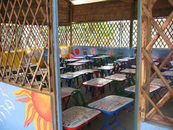 A classroom at the Chres Village School and Orphanage