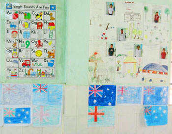 A classroom wall (The previous volunteer teacher was from Australia.)