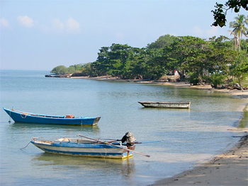 Boats in Mannai Island, donated by the Queen of Thailand for turtle preservation.