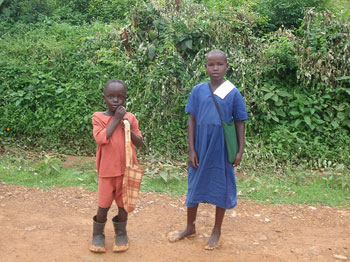 Many young boys like the two pictured here are without mothers or someone to turn to.