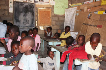 A classroom at the school in Tiwongue, Zambia