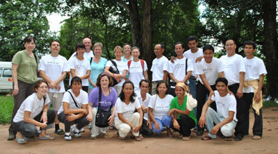 Ponheary Ly, front and center, with her group of volunteers at the opening of school for 2,400 students in 2010