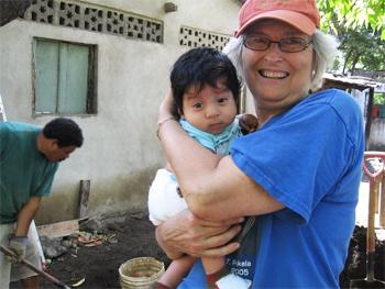 Julie Pokela of Northampton, MA with a friend in Ometepe, Nicaragua.