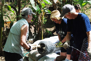 Volunteers helping build an earth-bag house in Ometepe.