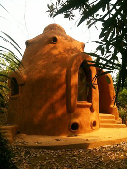 Tribewanted members construct eco-friendly Superadobe domes.