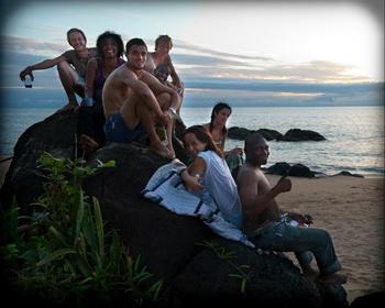 Tribemembers enjoy the beauty of John Obey Beach.