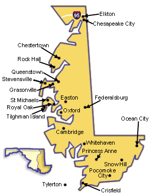 Map of Maryland's Eastern Shore.