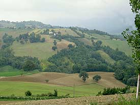 Rolling hillsides of Sant'Angelo in Pontana, Italy. Max Hartshorne photo.