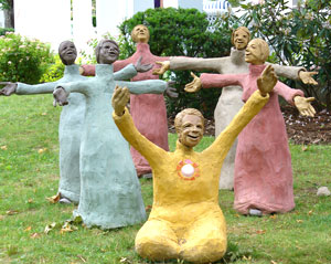 All of the structures around the Institution are beautifully crafted. You will also find loads of art on the grounds, like these statues.