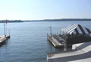 This view from our table at The Italian Fisherman shows the home of the Bemus Point Pops.