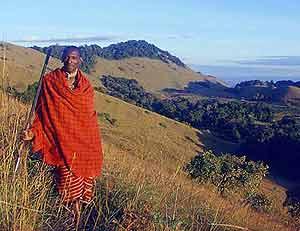 A Maasi tribesman at the Kuku Group Ranch in Southern Kenya.