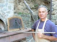 Pietro Messina at his brick pizza oven.