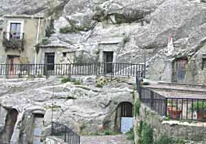 Houses built in the rocks at Sperlinga