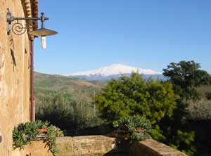 View of Mount Etna from our room